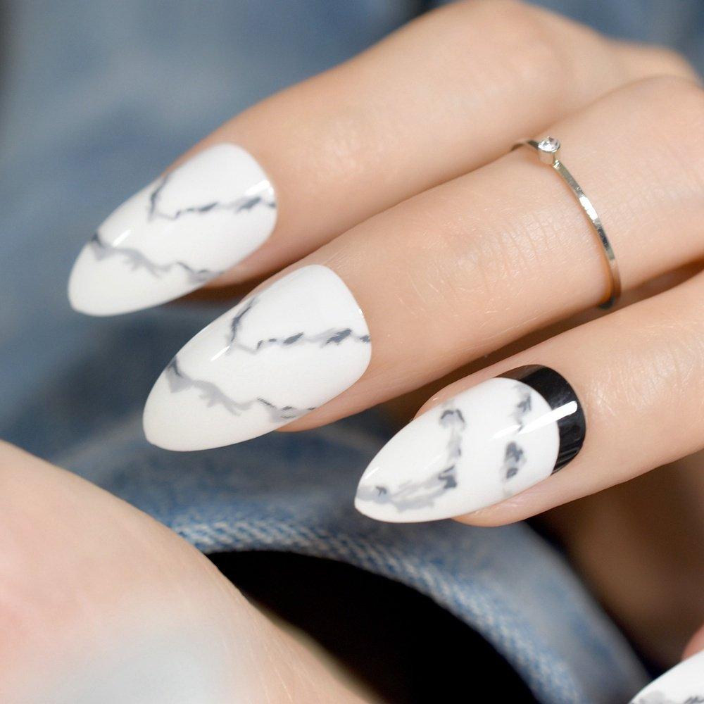 Juego de 24 uñas postizas de acrílico blanco de punta media para decoración de uñas, herramienta de manicura Z823: Amazon.es: Belleza