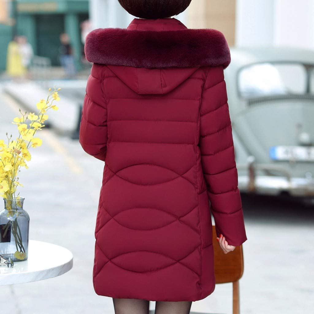 wuliLINL Womens Winter Jacket Parkas Thicken Outerwear Solid Hooded Coats Long Slim Cotton Padded Basic Tops