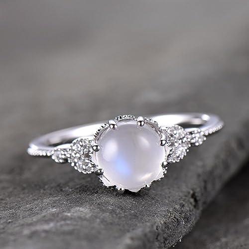 2df6dde9849 Amazon.com: Moonstone Ring Art Deco Engagement Ring Vintage Floral ...
