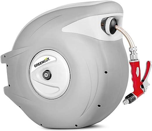 GREENCUT MNG300 - Manguera de agua de 30m con enrollador automatico, soporte de pared y presion de trabajo 8bars: Amazon.es: Jardín