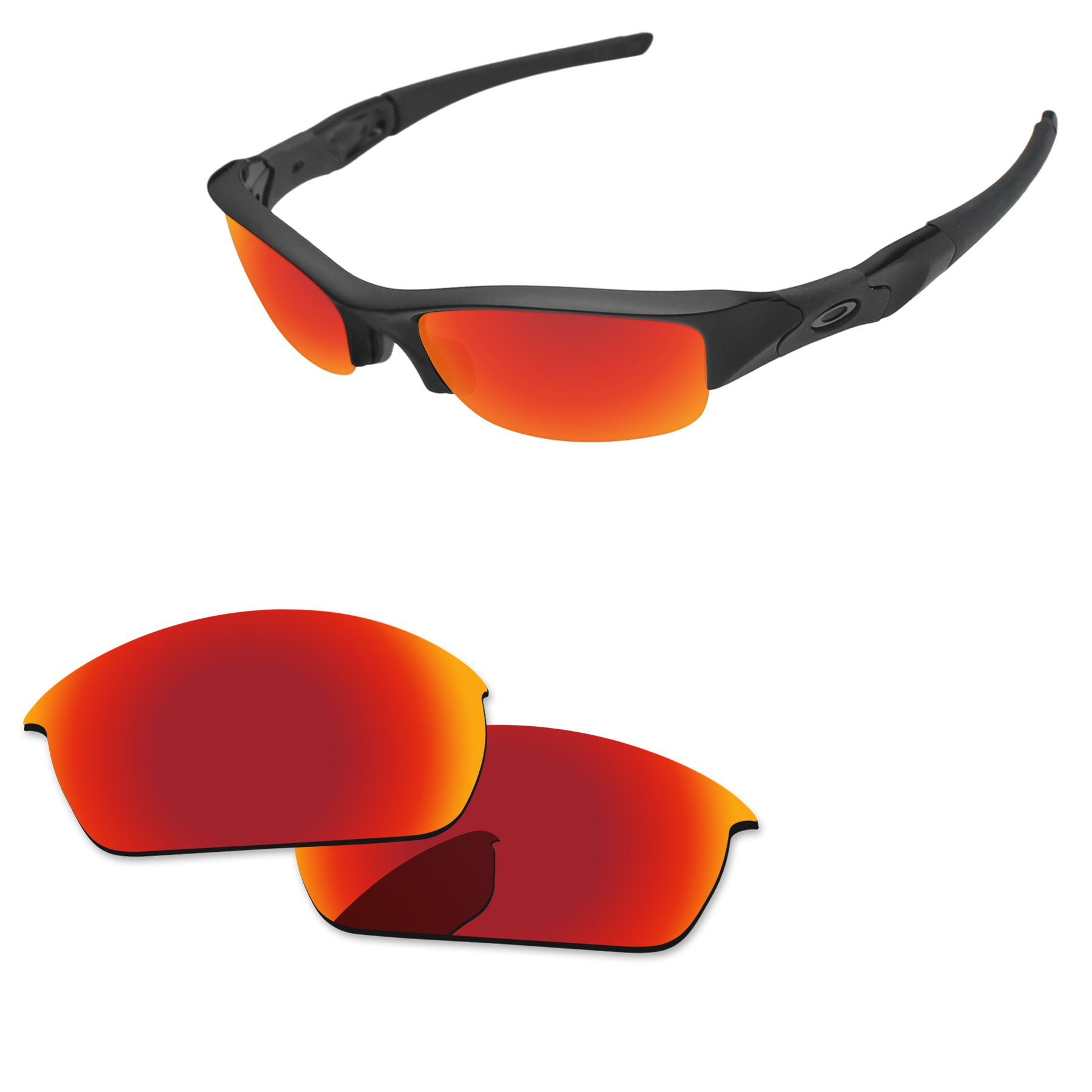 PapaViva Replacement Lenses for Oakley Flak Jacket Fire Red