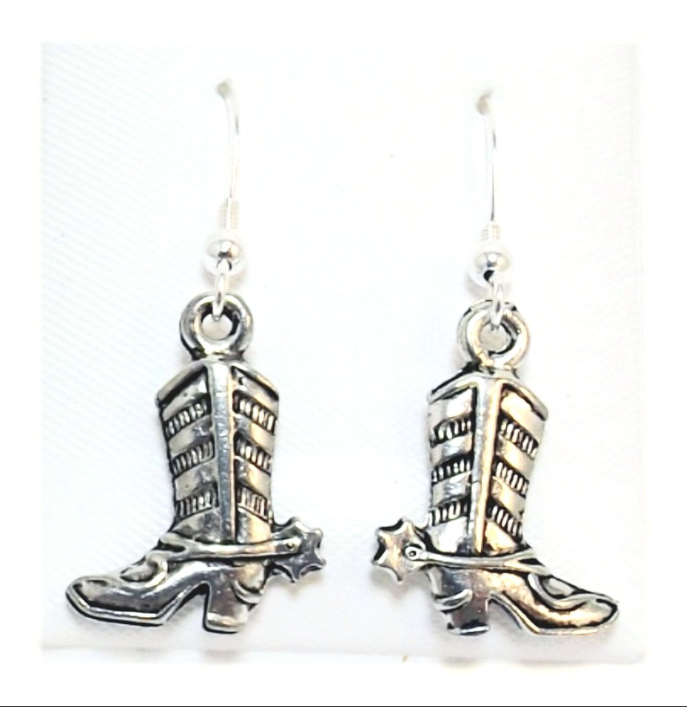 Pewter Cowboy Boot Charms on Hypoallergenic French Hook Dangle Earrings