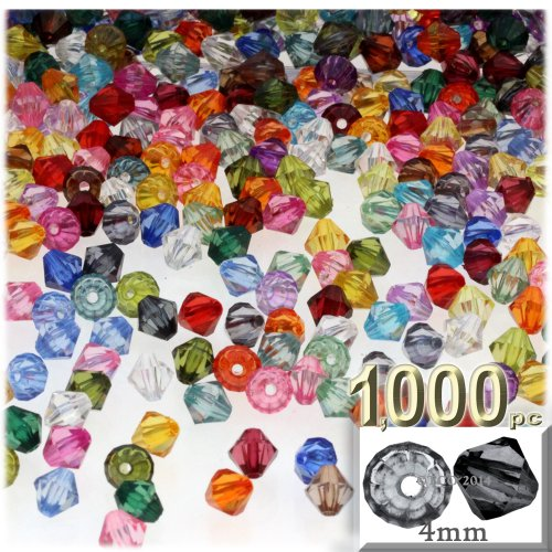 (The Crafts Outlet, 1,000-pc Acrylic Bicone Beads, Faceted, 4mm, Multi)