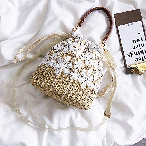 pour en Sac en à à Brown sac sac bambou toile bandoulière yunt main demi Straw bandoulière tissée femmes lune Sac bandoulière à à sac à à main sac main FrHAqwEF