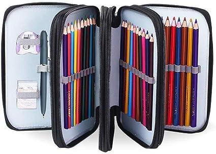 72 ranuras portalápices Caja de lápiz de Estudiantes, Bolsa de lápices con cierre, Estuche para lápices de arte (Negro): Amazon.es: Oficina y papelería