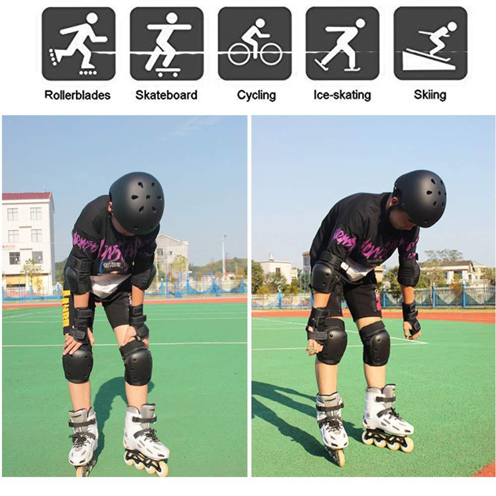 LEENY Equipaggiamento Protettivo Casco Ginocchiere Gomitiere Polso Protezione 7 PCS Sets Nero Protettivi Sportivi Accessori per Scooter Bicicletta Ciclismo Skates Skateboard Pattinaggio