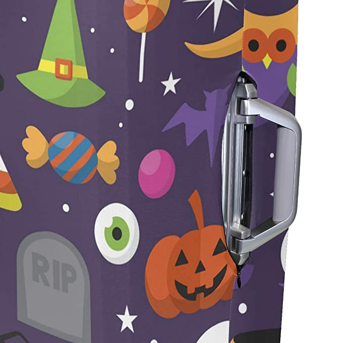 FOLPPLY Happy Halloween Pumpkin Candy Luggage Cover Baggage Suitcase Travel Protector Fit for 18-32 Inch