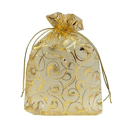Amazon Ankirol 100pcs Gold Eyelash Organza Wedding Favor Bags