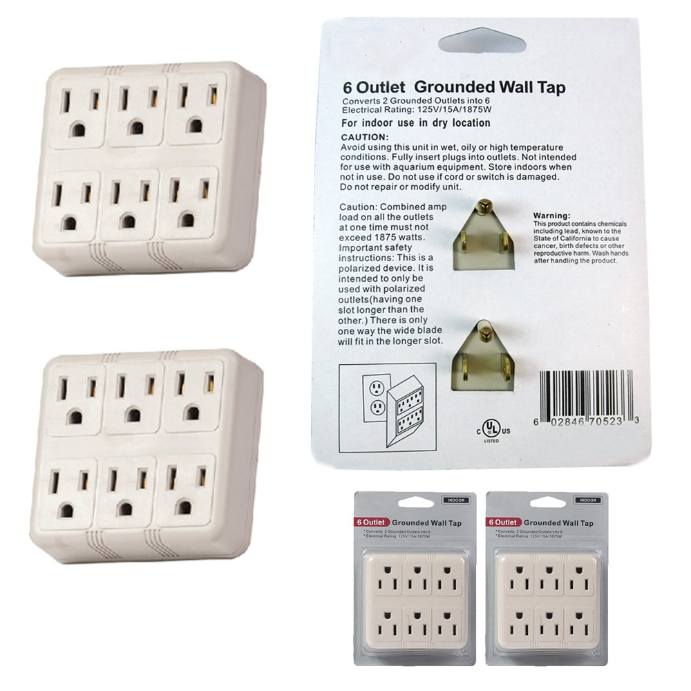 2pc Grounded Wall Outlet Tap Ac 125v Power Adapter Electrical 6 Way Repair Plug Charger