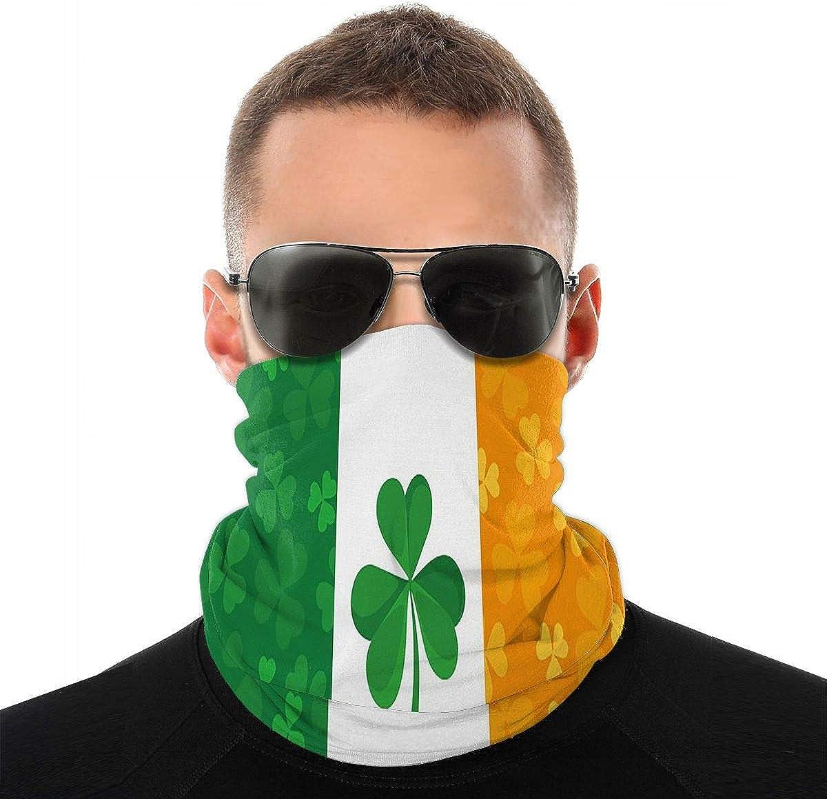 KiuLoam Irish Flag with Shamrock Seamless Face Mask Bandanas Neck Gaiter for Men and Women, Multifunction Headband Scarf for Dust, Outdoors, Sports