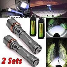 2 Sets 3000Lm CREE XML T6 Zoomable LED Flashlight Torch+18650 Battery+Charger