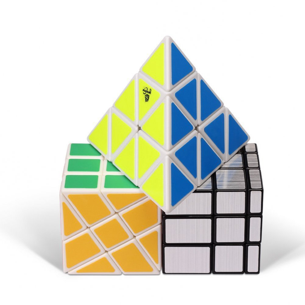 Playwin Aliens speed cube Mirror Pyramid Wheel cube puzzles Collection(White)