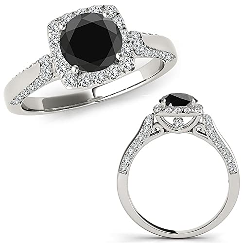 Amazon.com: 1 quilate Black Diamond cojín hermoso Halo ...