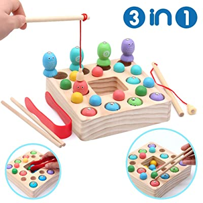 Montessori Toys for Toddlers Wooden Fishing Game Fine Motor Skill Learning Magnet Fishing Pole Clamp Chopsticks 10 Fishes & Beads Preschool Math Education Gift for Kids Child Age 3 4 5 6 Year Old: Toys & Games [5Bkhe0305762]