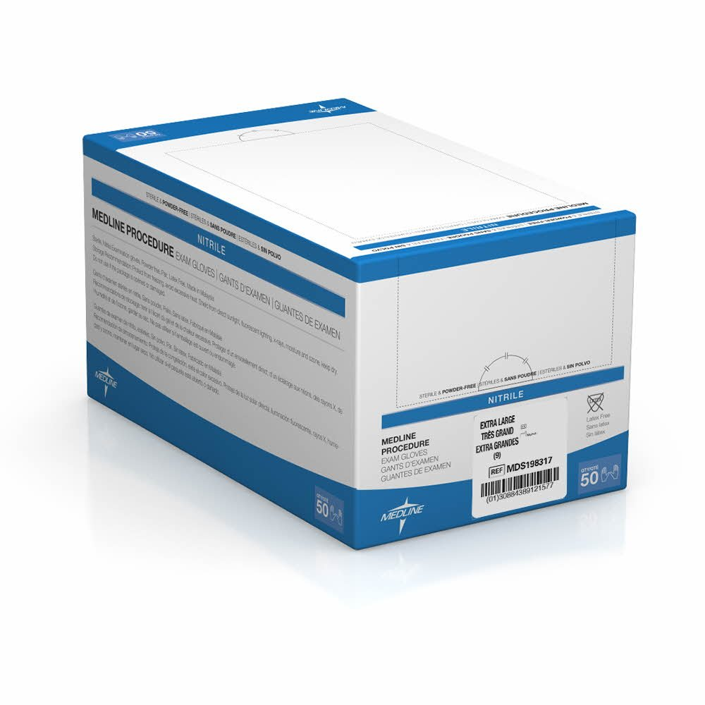 Medline MDS198317 Sterile Powder-Free Latex-Free Nitrile Exam Glove Pairs, 9'' Length, Extra Large, Blue (Pack of 200)