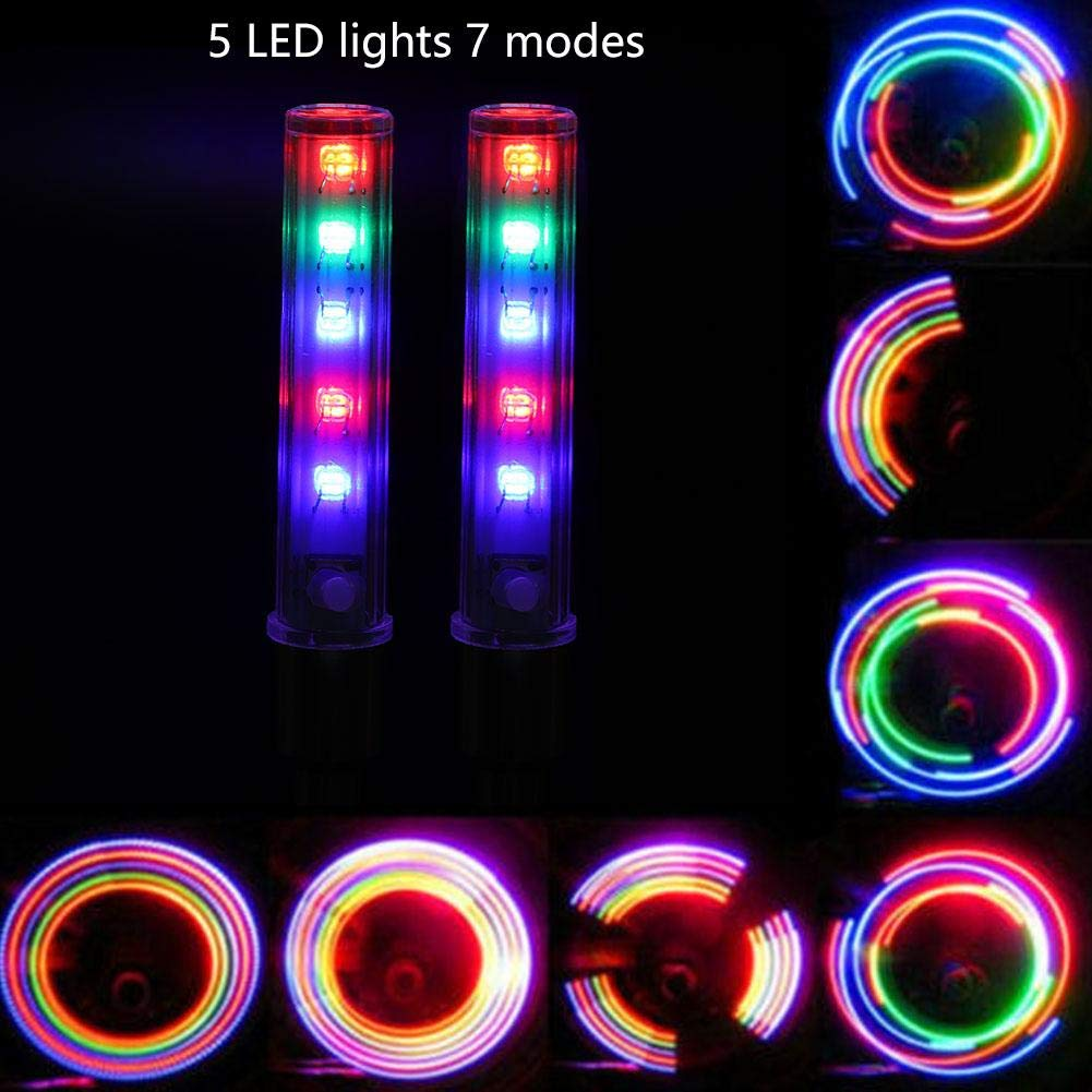 VGEBY1 Bike Valve Lights Colorful LED Gas Nozzle Lights Bicycle Wheel Tire Valve Spoke Glow in The Dark Cool Safe Accessories