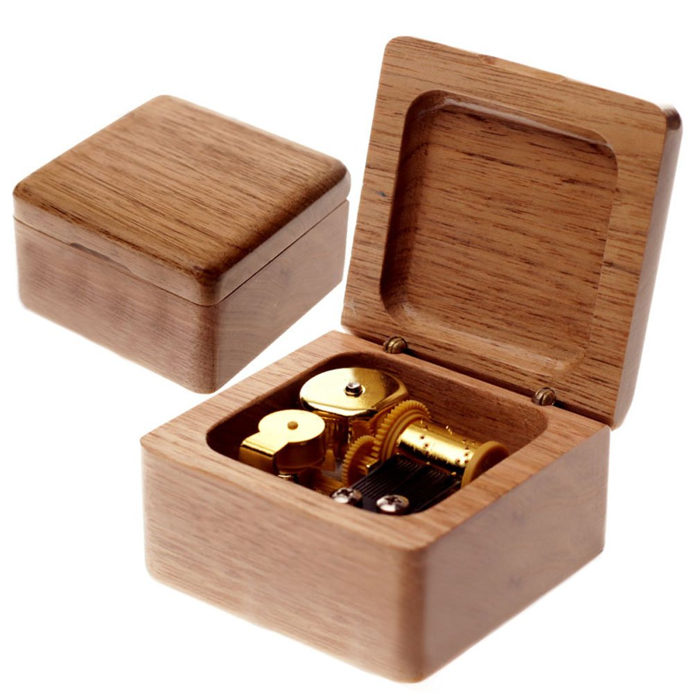 Wind-Up Wooden Music Box with Gold-plating Movement in,A Time For Us From Romeo And Juliet,Black