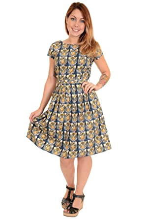 6989b1b566 Ladies Run   Fly 50s Retro Vintage Tiger Tea Party Dress at Amazon ...