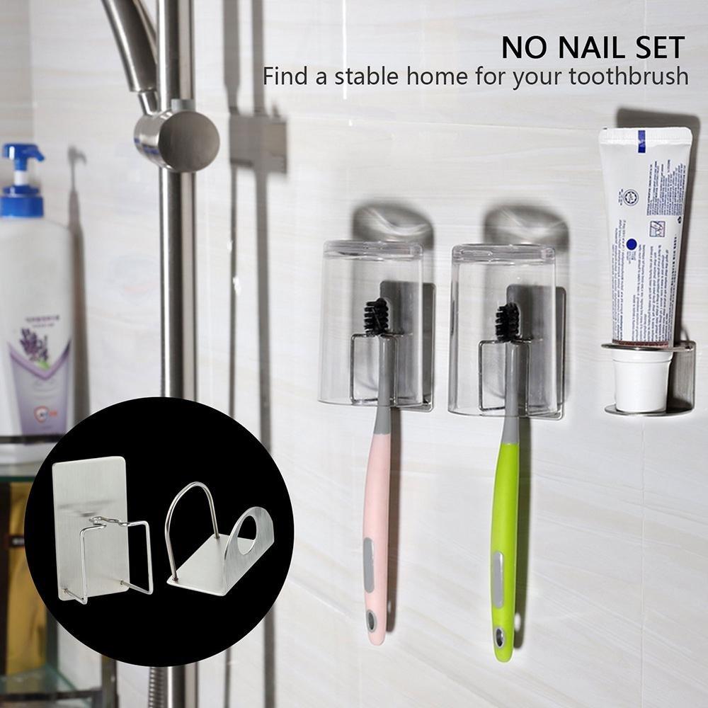 3Pack Stainless Steel Bathroom Toothbrush Holder 2 Toothbrush ...