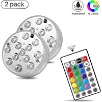 Underwater Submersible LED Lights, Megulla Waterproof Multi Color Battery Operated Wireless RGB LED Lights with Remote and Timer for Hot Tub, Pond, Pool, Fountain, Waterfall, Aquarium, Party, Vase Base,Christmas - 2pack