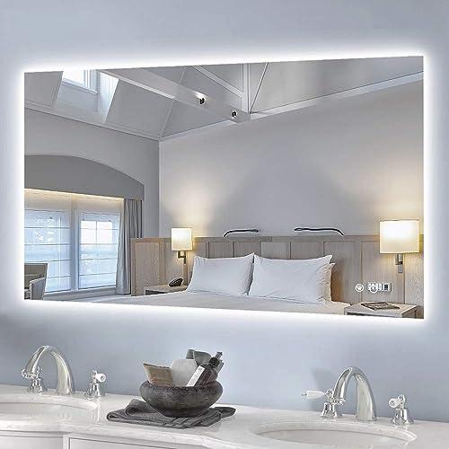 Keonjinn 40 x 24 Inch Backlit Bathroom Mirror Wall Mounted Anti-Fog Makeup Mirror