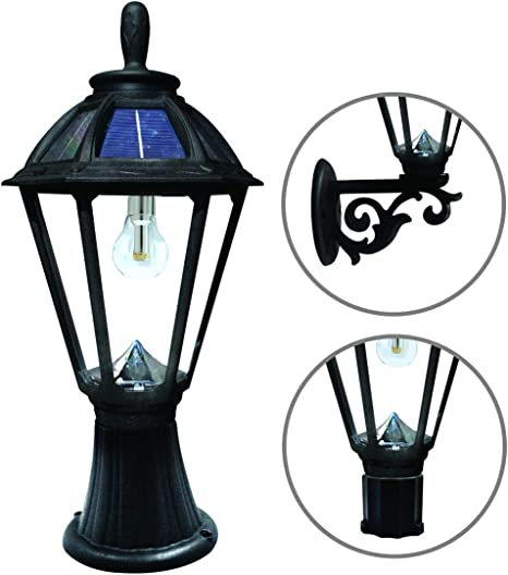 Gama Sonic Polaris Solar Light Gs Solar Bulb 3 Fitter Mount For Wall Post Pier Black Gs 178fpw Amazon Com