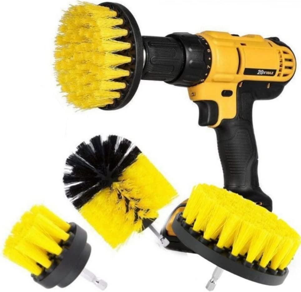 Drill Brush Attachment Set, 3Pcs Power Scrubber Brush Cleaning Kit for Shower Cleaner, Bathroom Surfaces,Grout, Floor, Tub, Car,Tile, Corners, Kitchen,Grill - Fits Most Drills (Yellow)