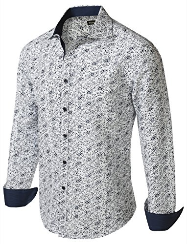 7Encounter Men's Spread Collar Patterned Print Long Sleeve Dress Shirt White Navy Paisley B85 L (Barrel Cuff Dress Shirt)