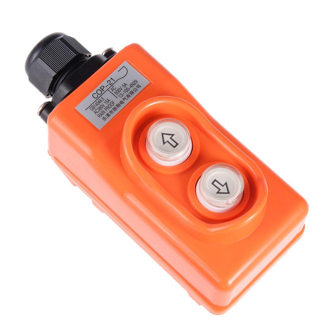 uxcell Rainproof Hoist Crane Pendant Control Station Push Button Switch COP-21 Up Down 2 Ways Orange