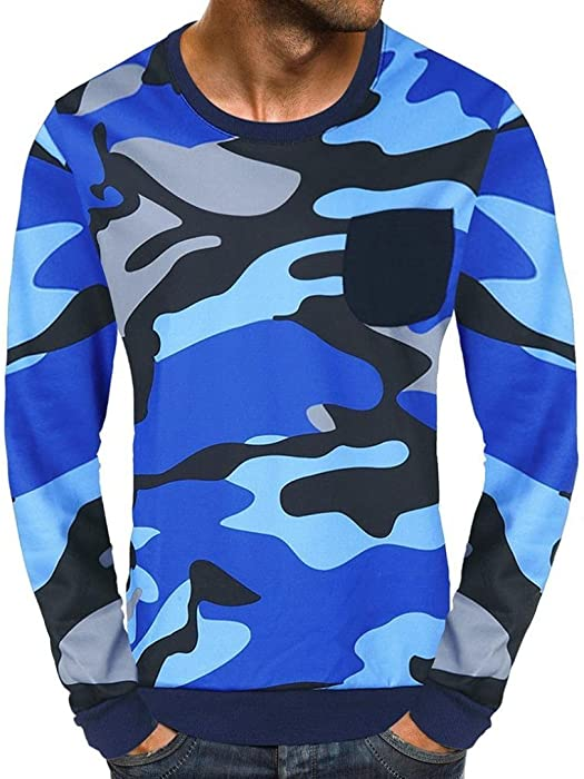 WM & MW Mens Tops, Mens Long Sleeve Casual Patch Pocket Camouflage Tee Pullpver Top