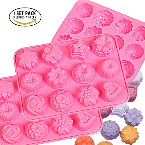 IHUIXINHE Food Grade Silicone Non-Stick Ice Cube Mold, Jelly, Biscuits, Chocolate, Candy, Cupcake Baking Mould, Muffin Pan (Flowers 3PCS)