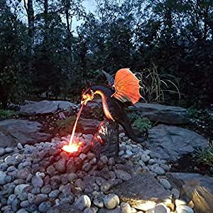 Fire Dragon Sculpture Waterscape for Garden Pond, Fountains Outdoor Waterfall with Fire Dragon Fountain Statue for Bird Bath, Garden, Pond, Pool, Outdoor (A)