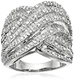 Sterling Silver Diamond Crossover Band Ring (1 cttw), Size 8