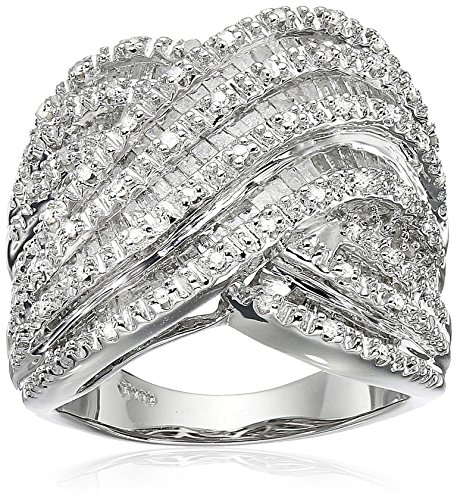 Sterling Silver Diamond Crossover Band Ring (1 cttw), Size 8 by Amazon Collection