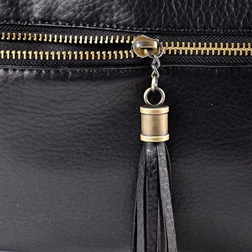 Donna nera Casual FTSUCQ pelle tracolla in a frange Tracolla Borsa Tasssel con fwdq7dZ