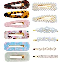Hair Clips for Women Girls - 12pcs Large Pearls Hair Clips Acrylic Resin Hair Barrettes for Birthday Valentines Day Gifts Bling Hairpins Headwear Barrette Styling Tools Accessories
