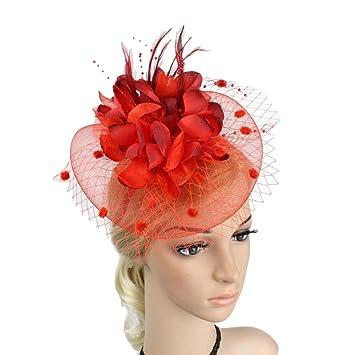 1790b79cdb33 Amazon.com : MOWANG Charming Big Flower Headband Netting Mesh Hair ...