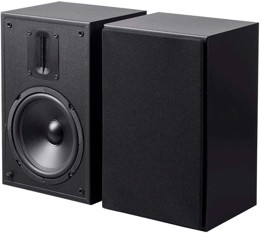 Monoprice 6.5in and Ribbon Tweeter 2-Way Bookshelf Speakers Pair Black