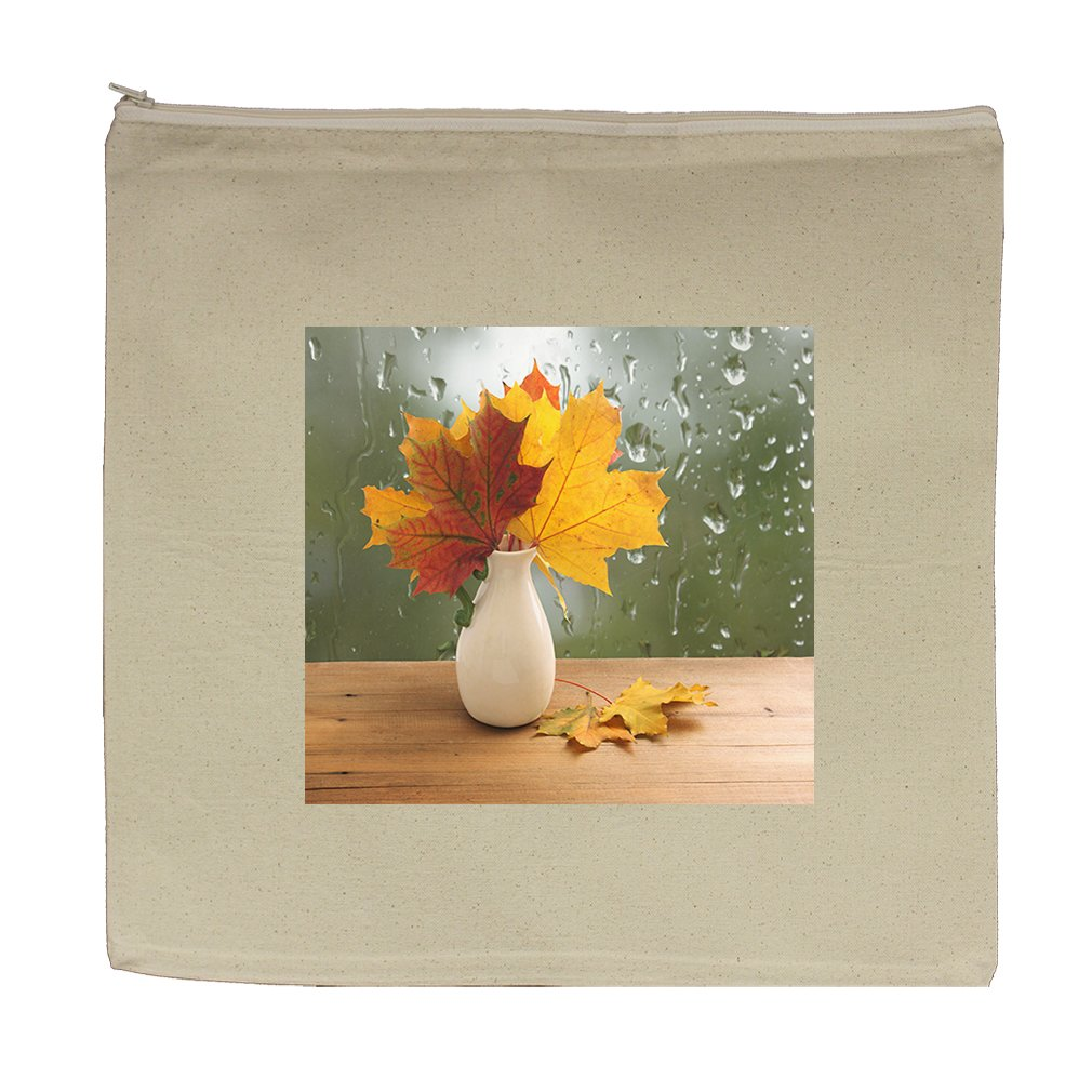 Canvas Zipper Pouch Tote Bag 5.5''X7.5'' Bouquet Of Autumn Leaves On Window Sill