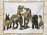 Boys Teens Kids Room Animal Decor Fleece Throw Blanket Dinosaurs T-Rex Jurassic 3D Dino Fossil Art Design History Throw