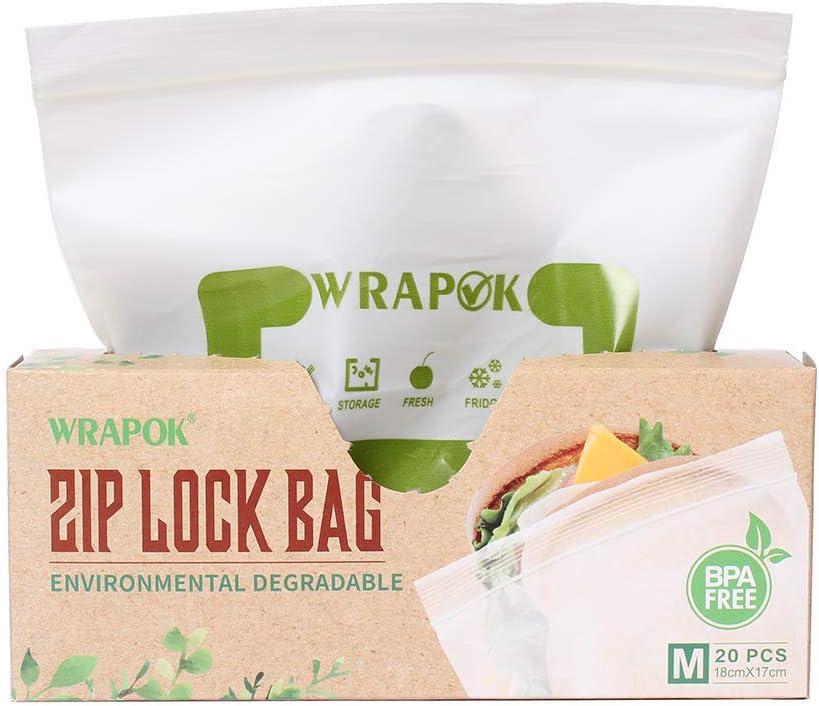 WRAPOK Kompostierbare Ziplock-Gefrierbeutel Wiederverschlie/ßbarer Sandwichbeutel 20 St/ück