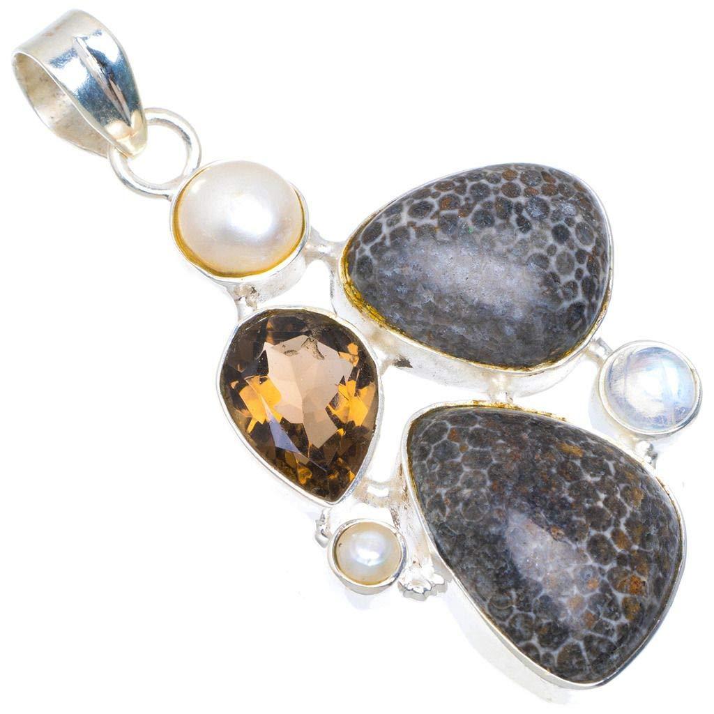 Natural Stingray Coral,Smoky Quartz,River Pearl and Moonstone 925 Silver Pendant 2 1//4 M654