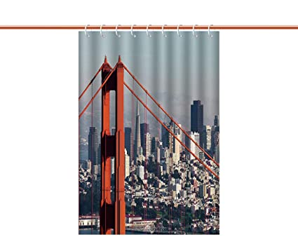 IPrint Unique Shower Curtain United StatesSan Francisco Bridge And Cityscape Metropolis Financial District