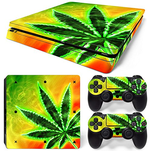 MODFREAKZ™ Cheer up and Controller Vinyl Skin Set - Rasta Weed Leaf for PS4 Slim