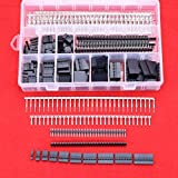 Hilitchi 635 Pcs 40 Pin 2.54mm Pitch Single Row Pin Headers,Dupont Connector Housing Female,Dupont Male/Female Pin Connector Kit