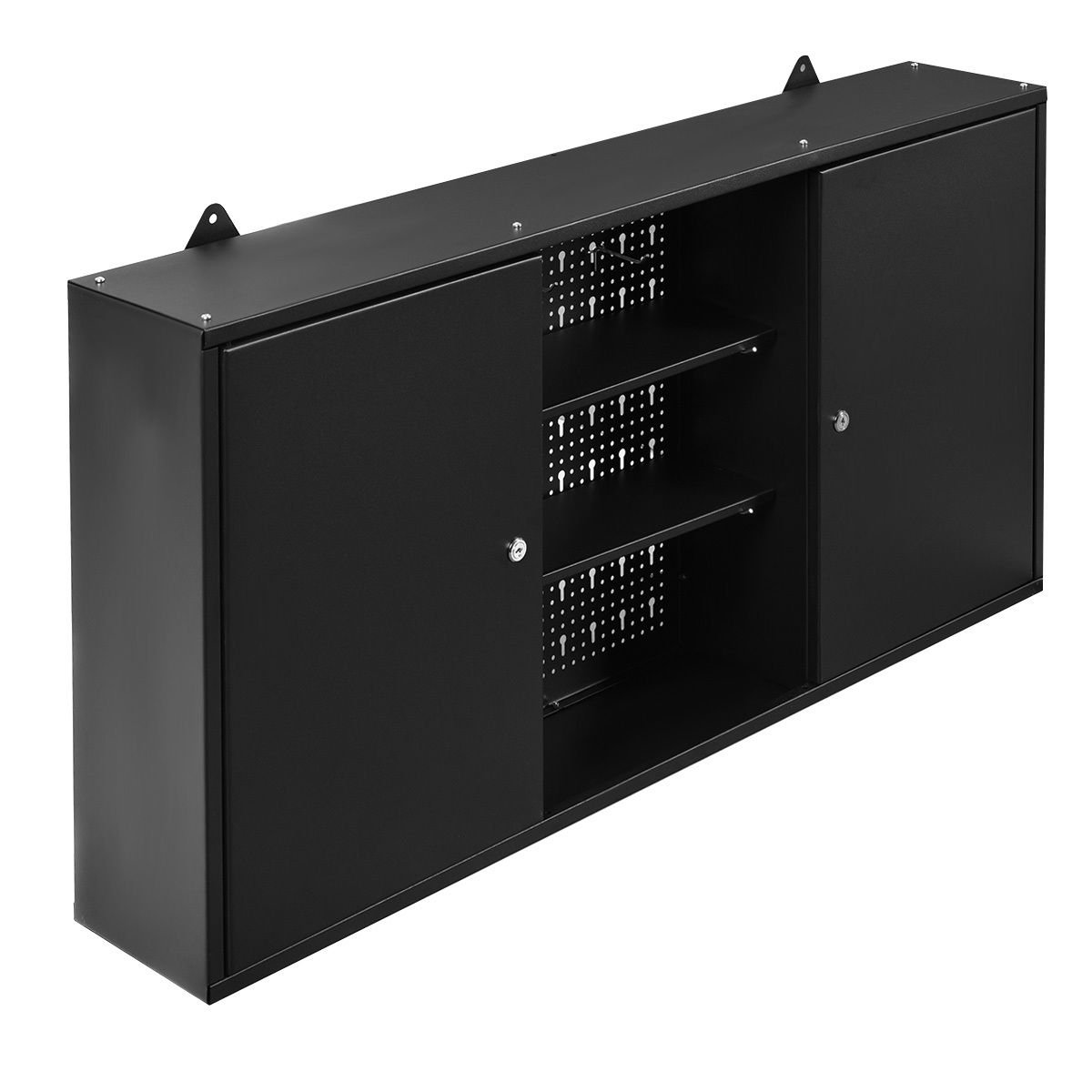 New Black Wall Mount Hanging Tool Box Storage Cabinet Lock Home Office Garage