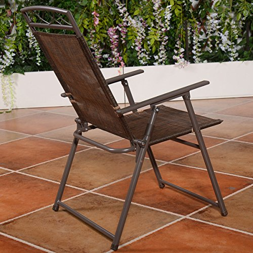 Giantex Set Of 4 Patio Folding Sling Chairs Steel