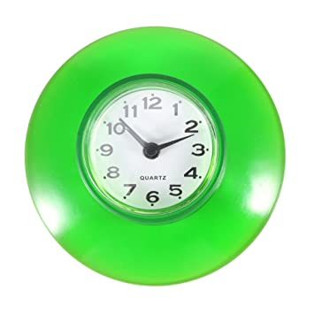 Silicone Shower Suction Wall Clock Waterproof Glass Wall Window Clock Green