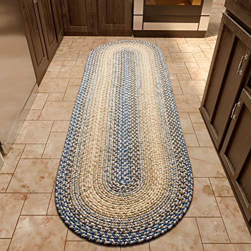 (Super Area Rugs Ridgewood Indoor Outdoor Kitchen Braided Rug Blue/Beige RI96, 2' X 4' Oval Runner)