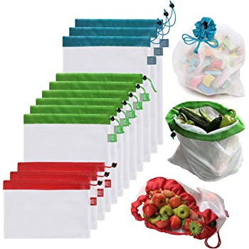 Brotrade Reusable Mesh Produce Bags Premium WashableBags with Tare Weight on Tags for Grocery Shopping Storage, Fruit, Vegetable, and Toys (Set of 12 PCS)